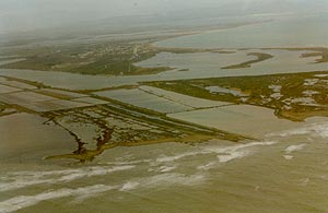 Inundation of the beach during the October 1997 storm.