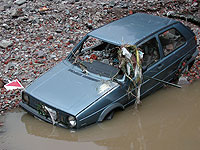 Car caught in flood